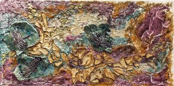 Paquet-fabienne'bleu-libellules'(40X80cm)-terres-émaillées-et-pigments-sur-toile